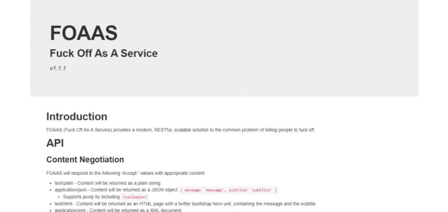 foaas - sarcastic web services