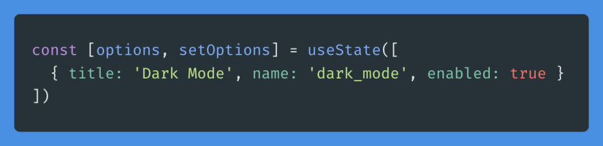 Persist options using React's useState.