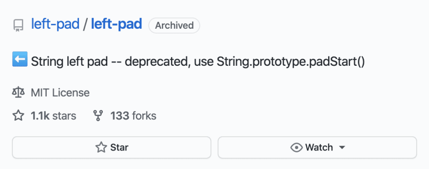 Summary of the archived leftpad Github repository showing 1100 stars