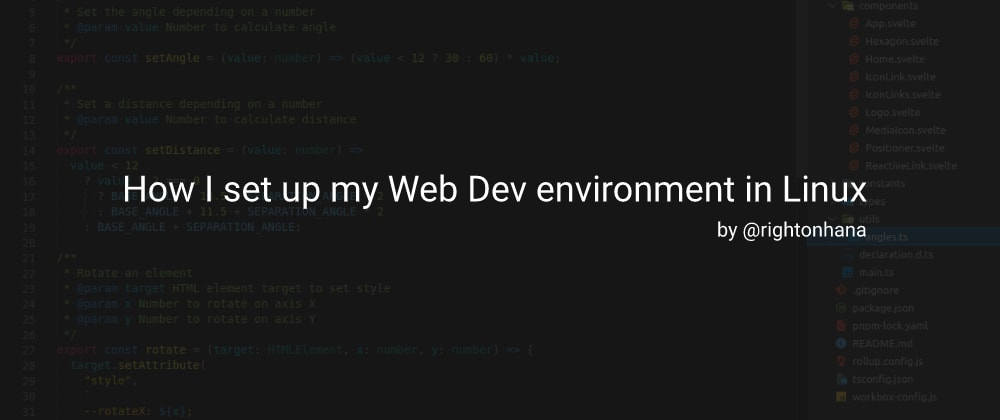 Cover image for How I set up my Web Dev environment in Linux