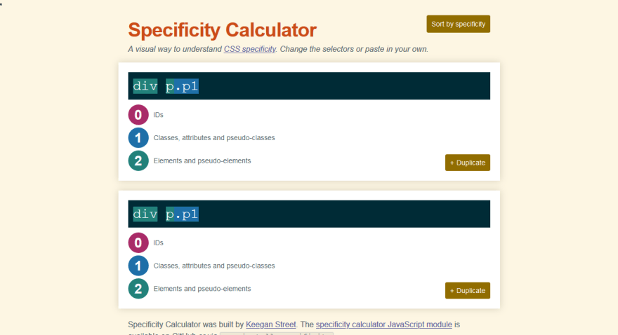 Calculating CSS Specificity with the CSS Specificity Calculator by Keegan Street