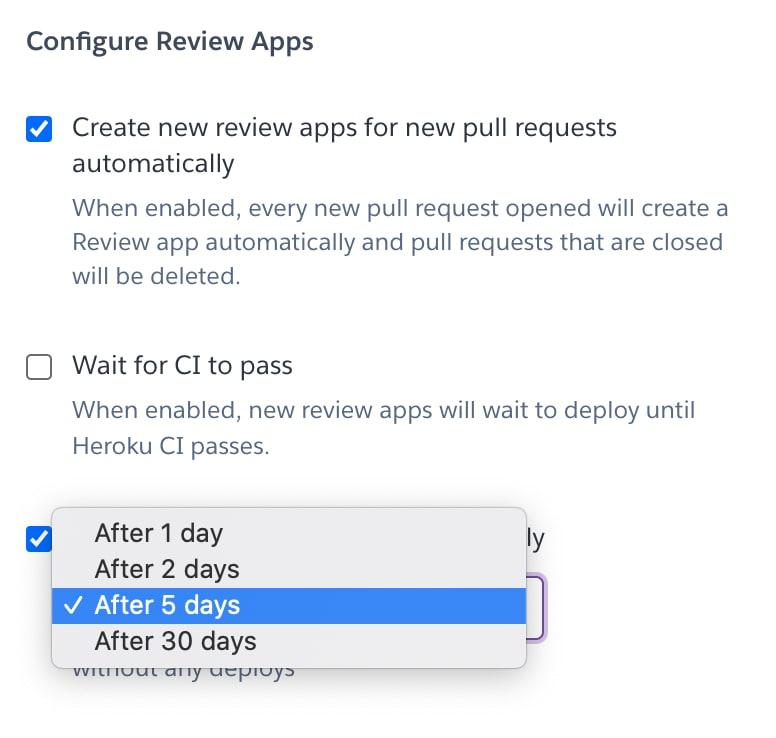 Review app configuration settings