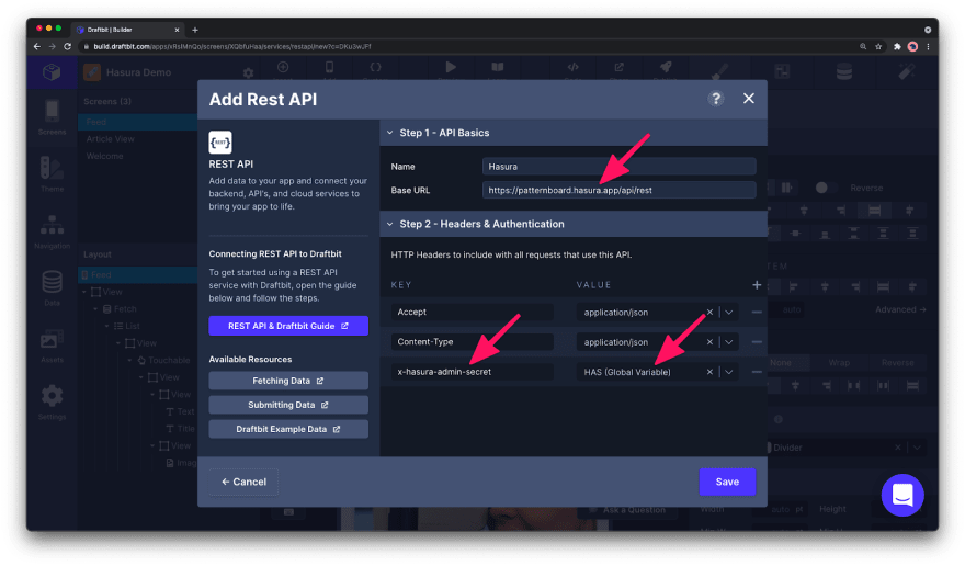 REST API headers.