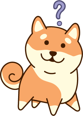 a confused-looking chibi shiba inu with a question over its head