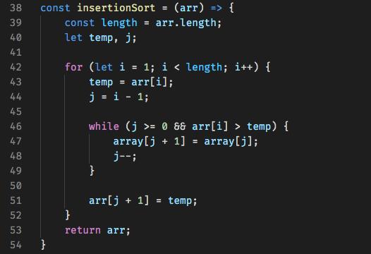 Code for Insertion Sort