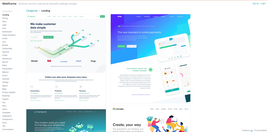 Webframe landing page