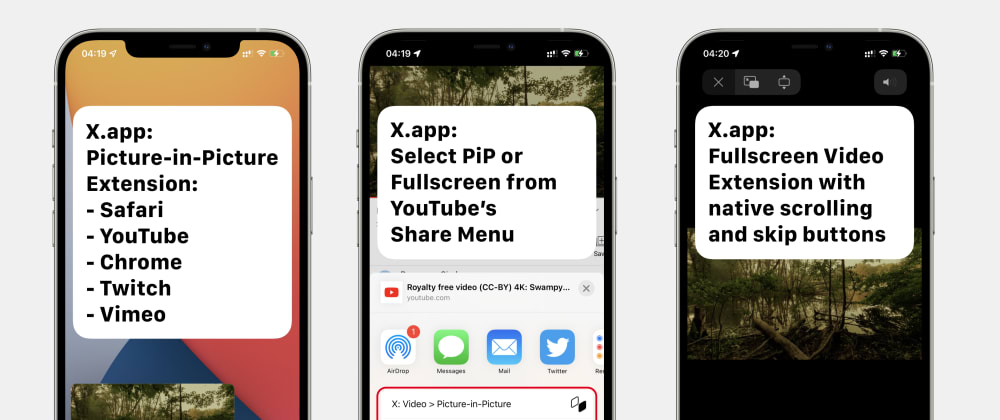 Cover image for X.app: Picture-in-Picture + Fullscreen Video Extension for iPhone and iPad, supports Safari, YouTube and Chrome.