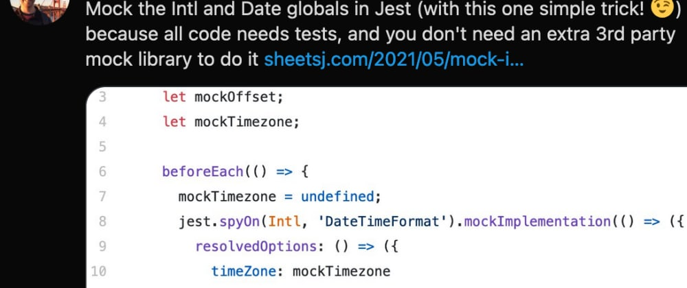 Cover image for Mock Intl and Date globals in Jest (easily!)