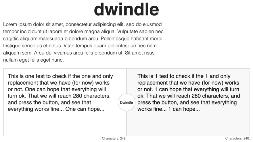 Screenshot of dwindle in a mobile width