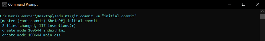 commit the staged files