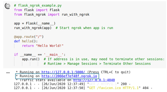 Example of running flask-ngrok
