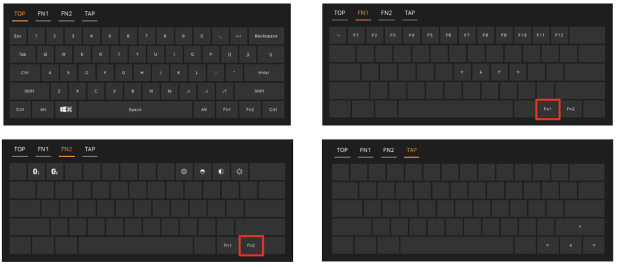 Accessing the layers of a 60% keyboard