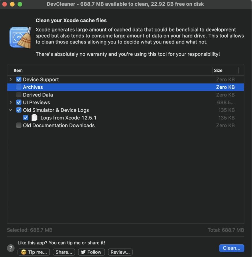 DevCleaner App UI