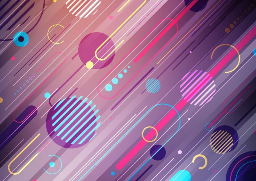 geometric background with diagonal rounded rectangles, circles with lines through them, dots and dashes in a pink, purple and dark blue colour scheme with yellow highlights