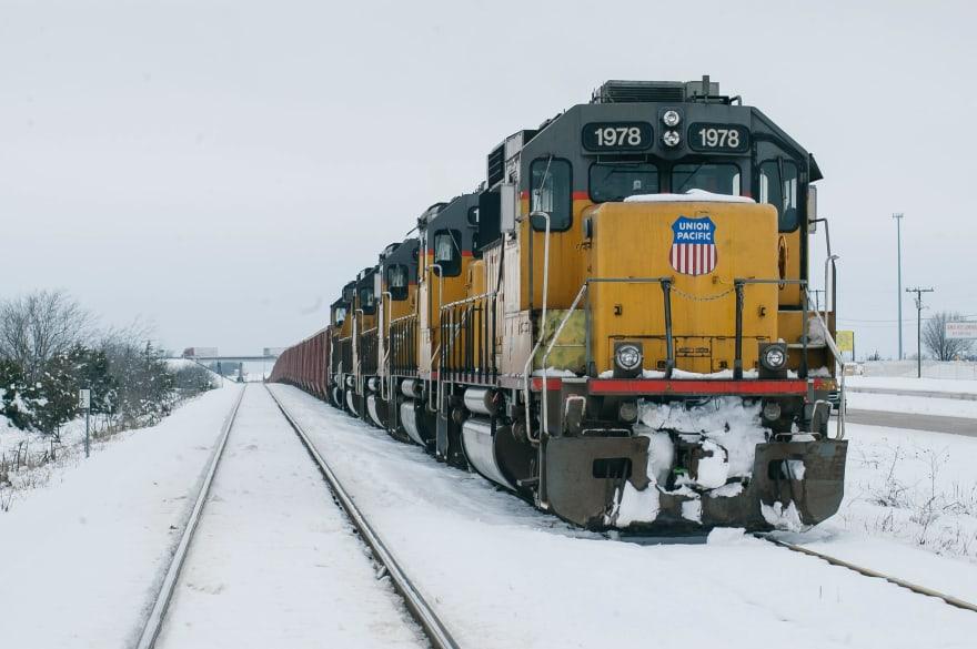 Train on a snowy day