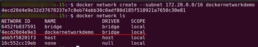 docker network ls