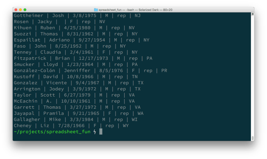 A terminal window showing the results of running the above script. The first six columns of each row are printed.
