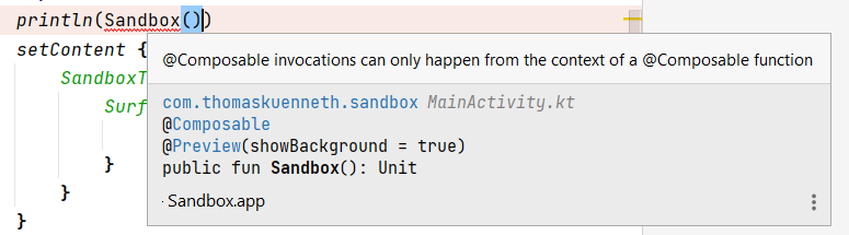 An error message regarding the invocation of a composable function