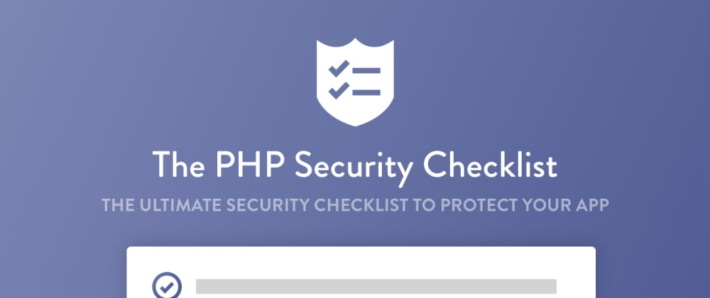 Cover image for The ultimate PHP security checklist