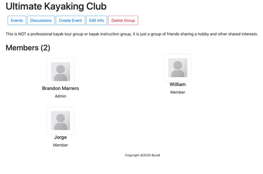 Screenshot of groups show