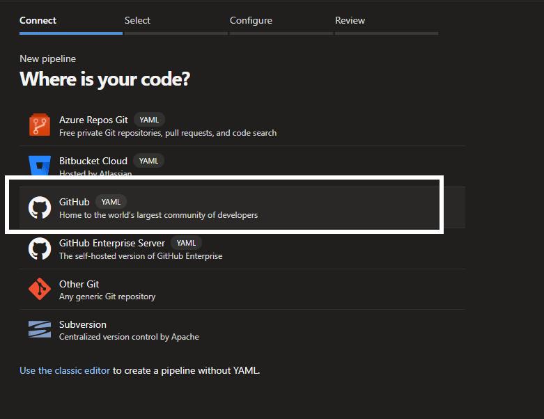 Select GitHub as source for code
