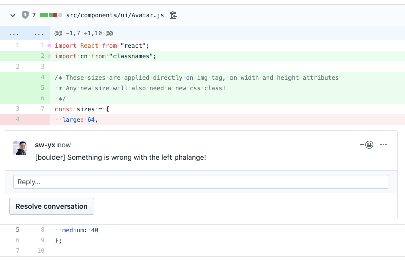 Code review suggestions and feedback on GitHub