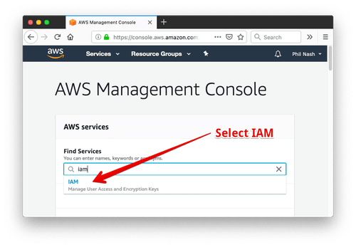 Select IAM from the AWS dashboard
