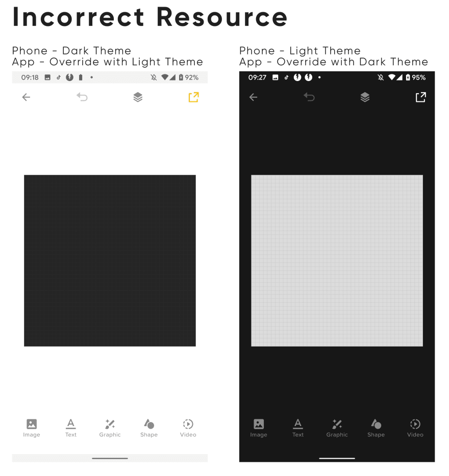 Incorrect Drawable Resource Loaded up for themes