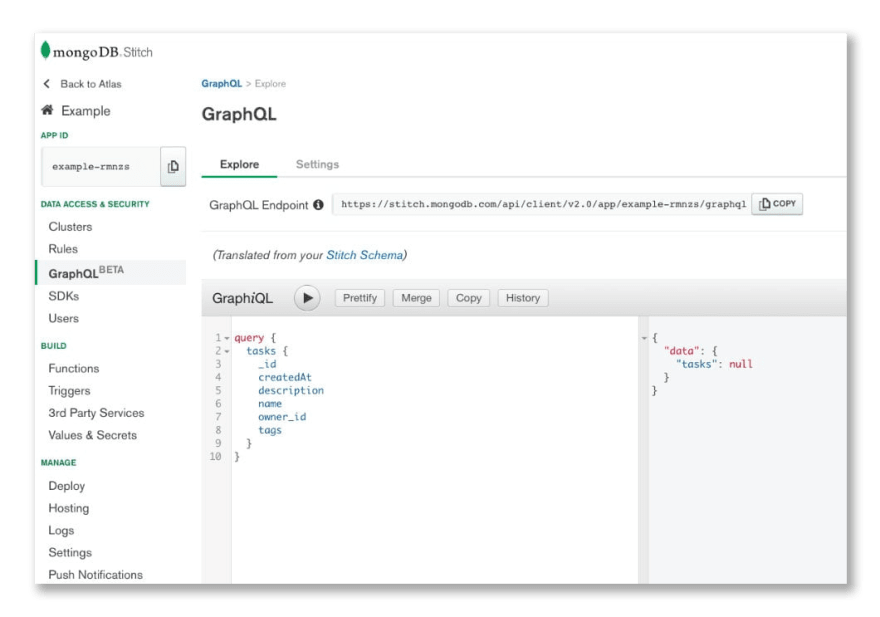 MongoDB Stitch's integrated GraphiQL Interface