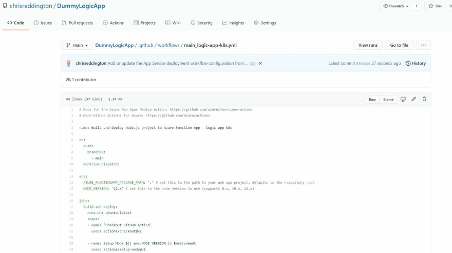 Screenshot showing the GitHub Action workflow file deployed to the repository on our behalf