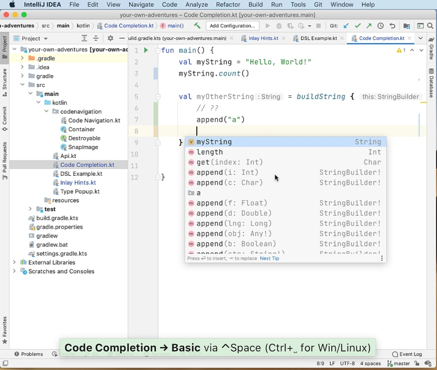 Using Ctrl-Space to invoke completion.