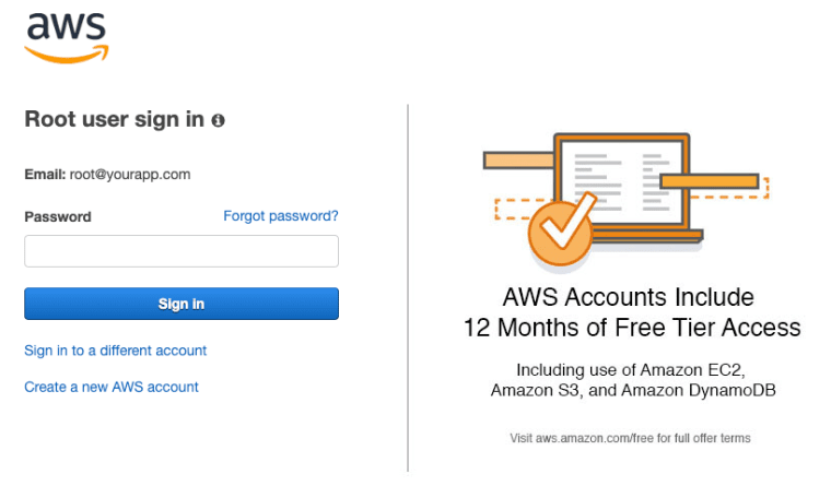 AWS Root Login
