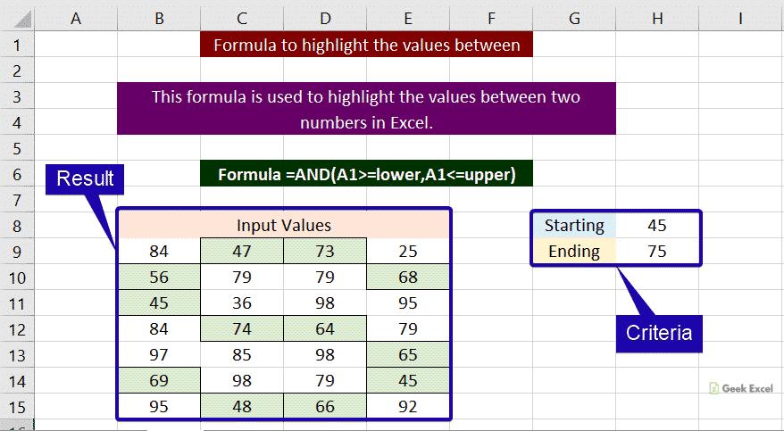 Highlight values between