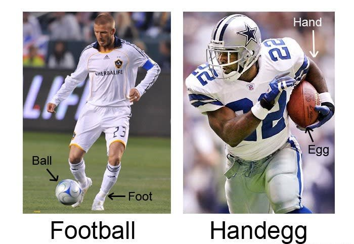 football vs hand egg