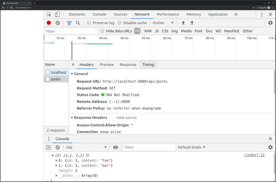 No CORS Error using allow origin header