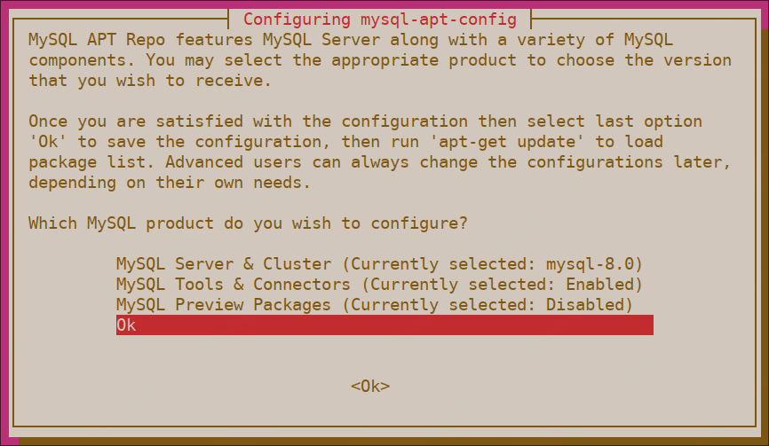Selecting mysql-apt-config configuration options