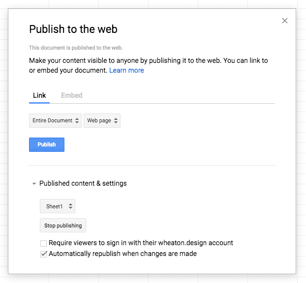 Screenshot of the Publish to the web dialog in Google Sheets