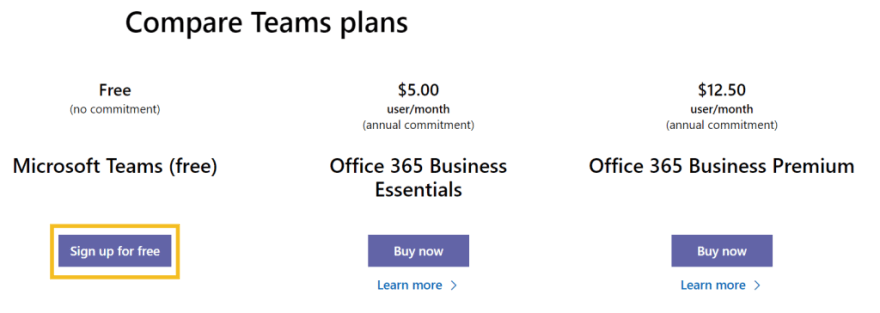 Microsoft Teams - Signup step 1 - Click the 'Sign up for free' button