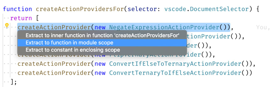 "VS Code shows a popup to either ""extract to function in module scope"", or to ""extract to constant in enclosing scope"""