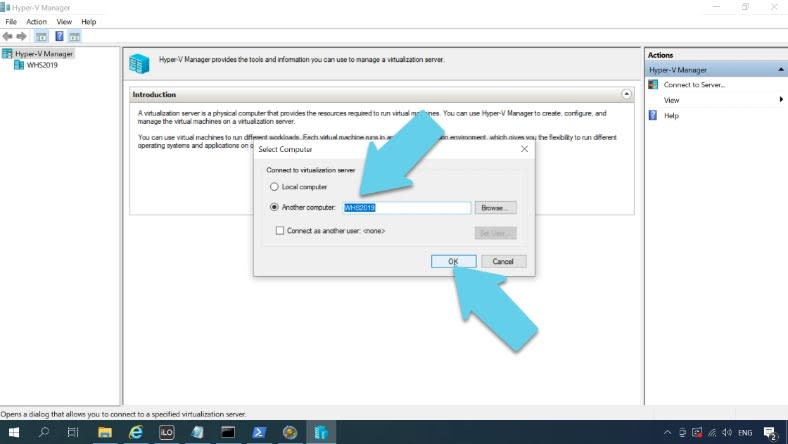 Open Start – Windows Administrative Tools – Hyper-V Manager – Connect to Server