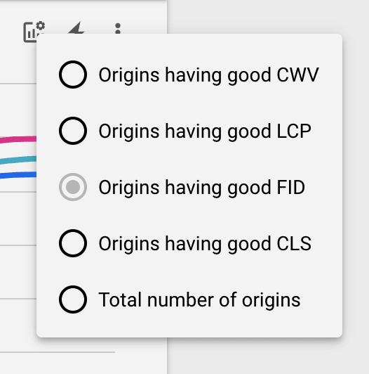 Screenshot of the options in the optional metrics menu