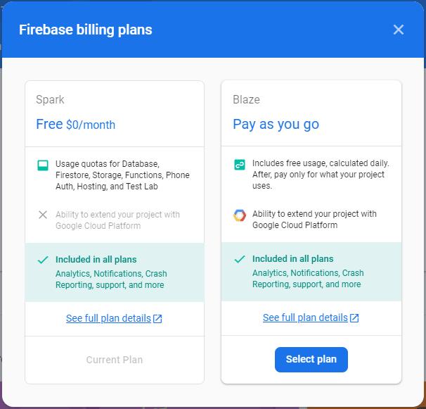 firebase pricing plans comparison