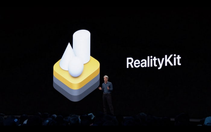 Craig Federighi and his fantastic hair introducing RealityKit at WWDC19, source: 9to5mac.com