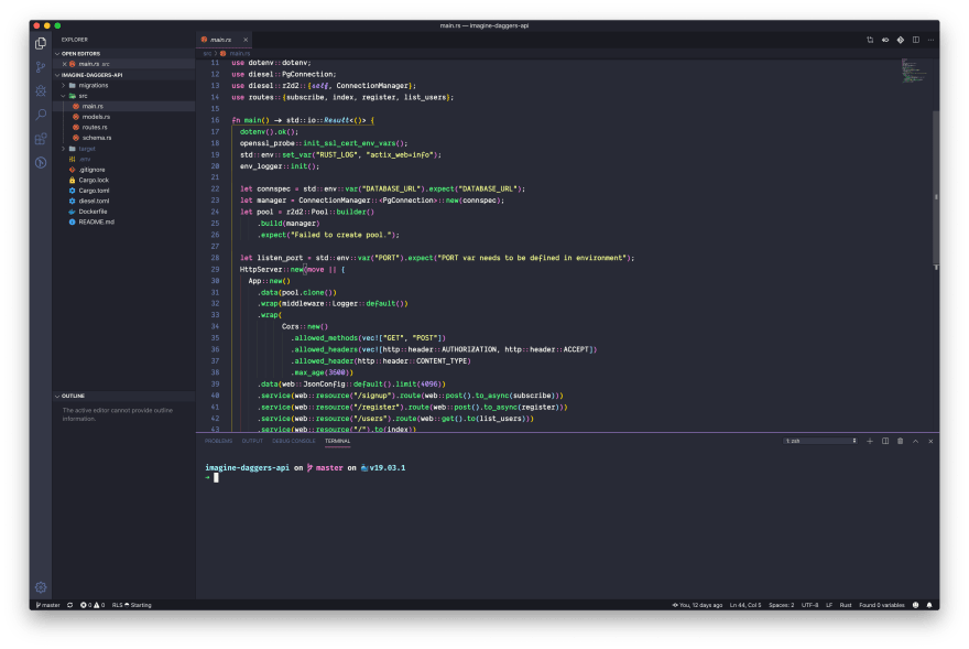 Screenshot of VS Code Setup