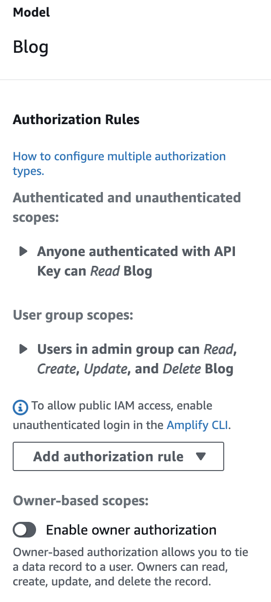 admin ui interface showing different authorization rules