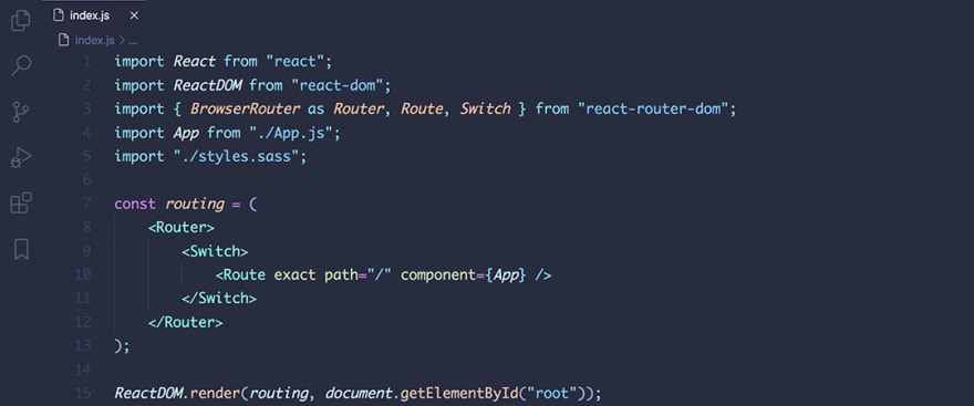 React code snippet with the August - In Bed By 7pm theme
