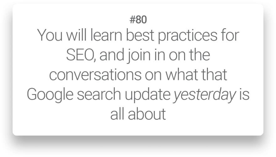 You will learn best practices for SEO, and join in on the conversations on what that Google search update yesterday is all about