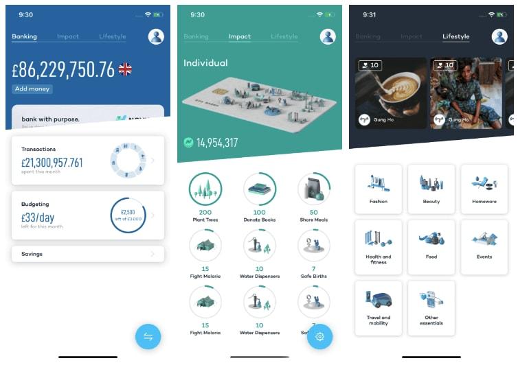 React Native apps: Novus World Banking app screenshots