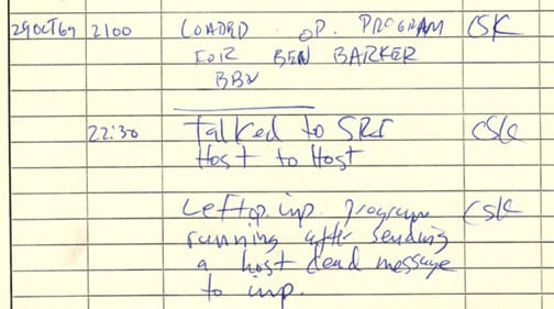 The log of the first message sent on the Internet.