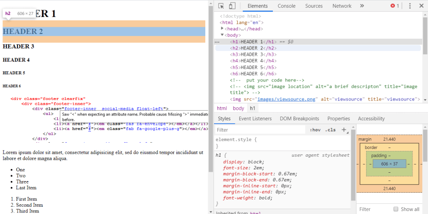 H1 element in Chrome devtools